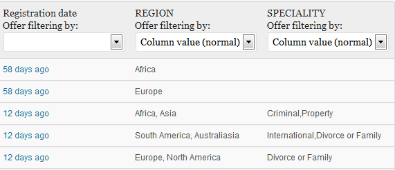 Specify which fields should be filtered on and how