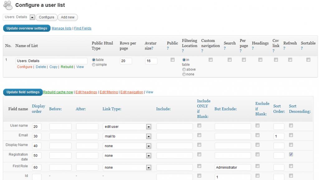 Configure each individual list, add fields