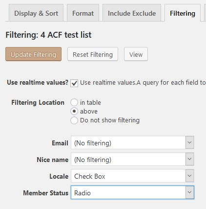 Choose html input type for filtering