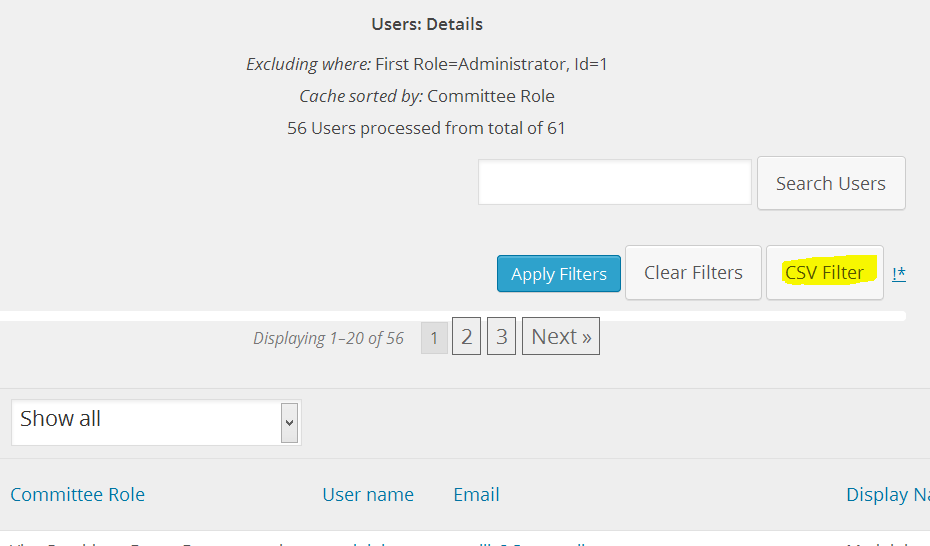 CSV filter button if filtering and csv enabled - always show sin admin