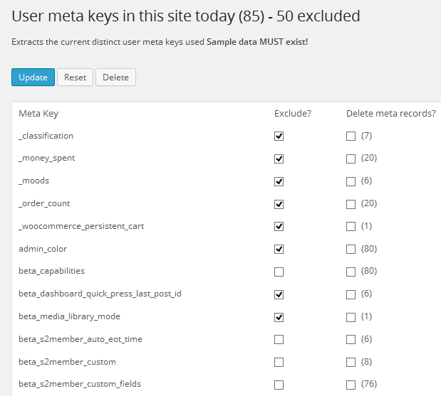 excluded meta keys