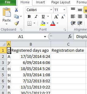Registration and days ago in excel