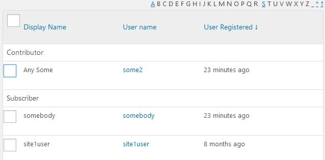 User Lists with users grouped