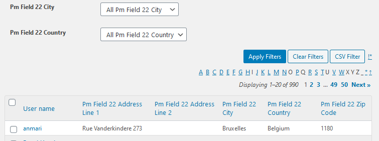 Profile Grid address field expanded